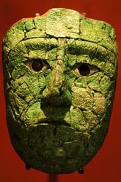 Maya death mask amazingly lifelike and detailed. Jade mosaic, Palenque museum.