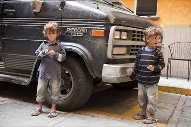 Scruffy boys, scruffy van. Cuernavaca.