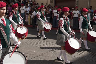 Mexico, Cuernavaca, Independence Day. Women Marching Band.