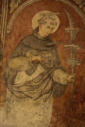 Frescos inside arcaded cloister. Tetela del Volcan. Saint with axe in his skull, sword stuck in his heart, bizarre.