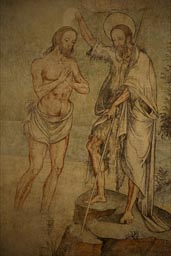 Most beautiful frescos, Tetela del Volcan. Joh the Baptist baptizing Jesus.
