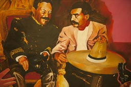 Jean Paul Chambas paiting of Pancho Villa and Emiliano Zapata, a mural in Bella Artes metro station, Mexico City.
