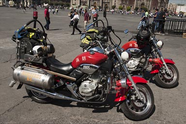 Fire fighters, motor bikes, Mexico City.