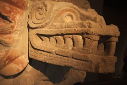 Feathered serpent, museum, Teotihuacan.