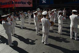 Police marching band on Times Square.