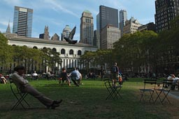 Woman relaxing lunch time in  Bryant Park.