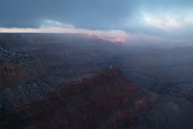 Snow clouds over Grand Canyon.