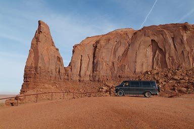 Van in Monument Valley.