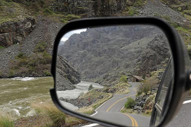 Hells Canyon and Snake River in mirror, where I don't go.