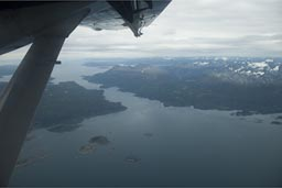 Isla Navarino, most southern tip of Chile, Beagle Channel, Canal Murray, from plane.