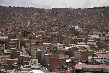 La Paz, Bolivia, looking up towards El Alto, north west.
