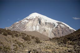 Sajama volcano, on way to refuge.