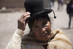 Aymara woman and hat and dress, Coipasa, Bolivia.