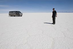 On Uyuni salt flats, Van in back, Bolivia.