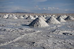 Heaps of salt on Uyuni Salare.