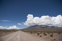 On the road, in altiplano and volcano country.