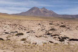 Volcano and old lava, Atacama.