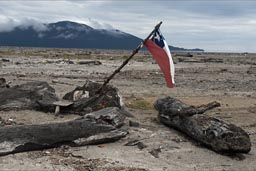 The Chaiten lahar spilt into the sea, Chilean flag, for hope.