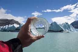 World through the whisky glass, the Patagonian, O'Higgins glacier, Chile.