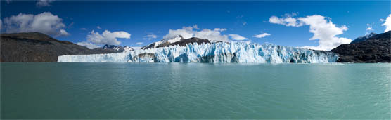 Panorama photography, of O'Higgins glacier, Chile.