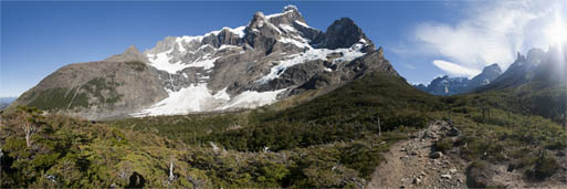 Panorama Photography of French Glacier, Valley de Frances, Torres del Paine.