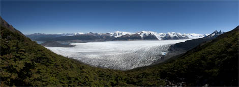 Panorama photography of Grey Glacier from above, Torres del Paine, Chile.