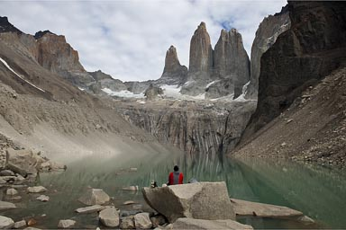 The Towers del Paine and lake.