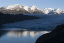 Hielo Sur in sun in back, Grey Glacier in shade, cold early morning 2nd day, Torres del Paine, Chile.