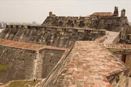 Walls on top of Castillo De San Felipe De Barajas, Cartagena, Colombia.