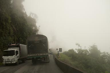 Up the Andes, bad roads, lots of traffic..