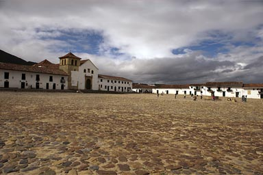 Villa de Leyva, still morning, opposite side, sun comes out, Colombia