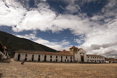 An imposing sight, Villa de Leyva, in a Colombian Andean valley.