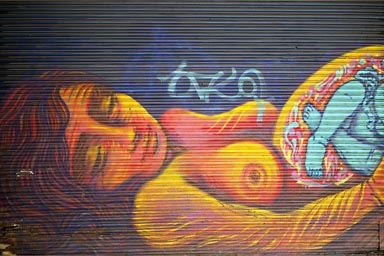 Graffiti of nude lady, Bogota.