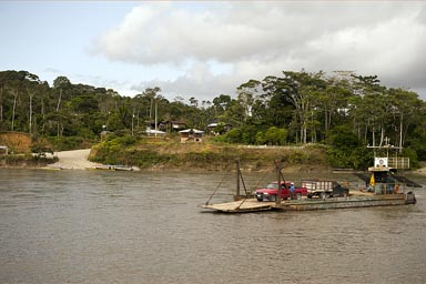 Car ferry over Rio Napo.