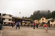 Salinas, volleyball on main paza, Ecuador Andean highlands 3,600m.