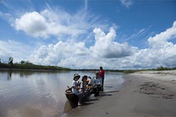 Canoe journey. A short rest on banks of Huallaga River. Peru.