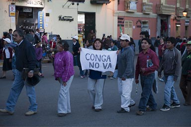Conga protests still going on late in the day. Cajamarca.