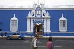 Blue house on plaza des armas. Trujillo, Peru.