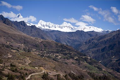 View from above Yanama, Cordillera Blana snoy mountain range, Peru.