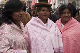 Women waiting to dance on Independence Day in Peru, Lima.