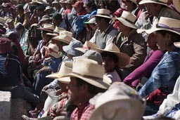 All in hats, sun beats down on a fully packed bull fighting arena, fiesta grande, Huambo, Peru.