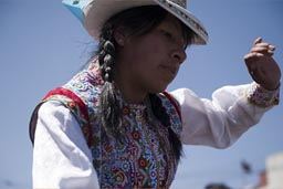 Andean woman, decorated blouse, Arequipa Day, Peru.