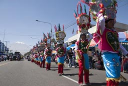 Dancers with head gear, Avenida Independencia, Arequipa Day.