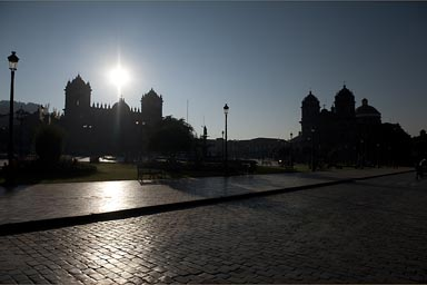Sun satnds over cathedral on plaza de armas in Cuzco/Cusco, Peru. I have my camera back, I must return now, to Cusco, one day.