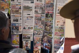 Peru, frontpages of newspapers, people read them on streets all over Peru, here in Puno.