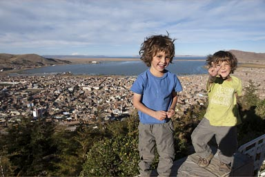 From Condor Hill, 4,017m, view over Puno and Lake Titicaca, Peru