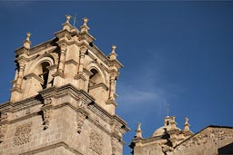 One of the clock towers of Puno cathedral, Peru.