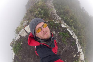 Clouds all around on Cerro Machu Picchu.