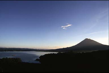 El Arenal lake and volcano 1999.